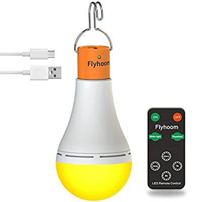 Flyhoom 180LM Rechargeable Camping Light Bulb with Remote Control Dimming and Timing for Tent,Hiking,Emergency,Power Outage White 1 Pack Without Solar Panel.