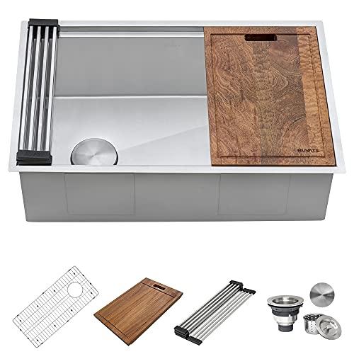 Ruvati 33-inch Workstation Slope Bottom Offset Drain Undermount 16 Gauge Kitchen Sink - RVH8591