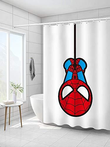 Duschvorhänge, schimmelresistent, waschbar, mit Haken, dicker, extra langer Duschvorhang, Badezimmer, Nassraum, Marvel The Avengers Cartoon Spider-Man, Farbe C, B 240 x H 200 cm
