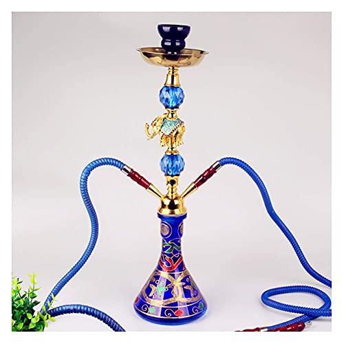N\C ZZST Hookah de 2 mangueras, Shisha de Tabaco de Sabor árabe, Decoración de Elefante de aleación, Base de Botella de Vidrio Impresa ZZST