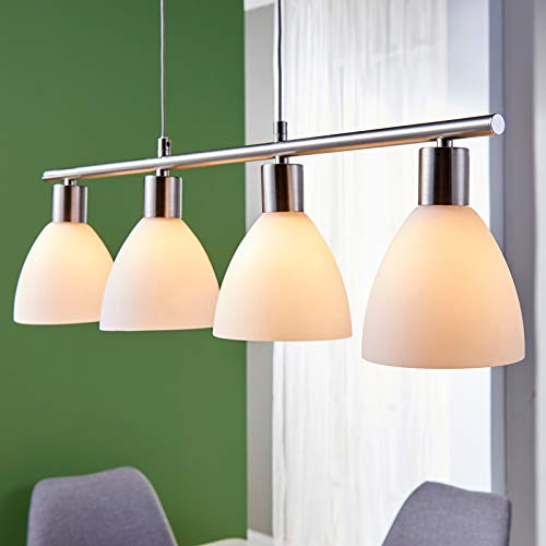 Lampenwelt Esstisch Pendelleuchte Glas Metall | höhenverstellbar | Hängelampe 4-flammig | Hängeleuchte für Esszimmer, Wohnzimmer, Küche | Balkenpendelleuchte