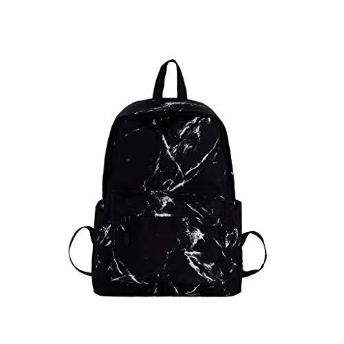 White Marble Backpacks College School Bookbags Travel Unisex Daypack for Teens (Black)