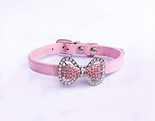 PETFAVORITES Leather Rhinestone Bow Tie Pet Cat Dog Collar Necklace Jewelry for Small Dogs Girl Kitten Puppy Teacup Chihuahua Yorkie Clothes Costume Outfits (10.7 to 13-Inch, Pink)