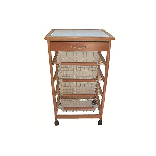 Beca carrello da cucina portapane legno naturale 4 cassetti portafrutta H82x47x37 cm
