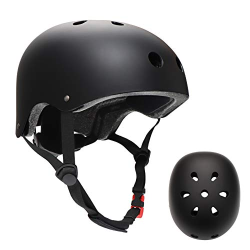 SkateboardHelmet SkateHelmetfor AdultsKidsYouthWomens for SkatingSkateboardingRollerSkateBlades BMX BikeScooter Adjustable Helmet with Removable Linersin Multi-Sports (Black, Large)