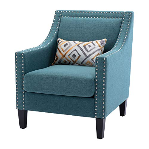 Dolonm Accent Chair with Arms Mid Century Modern Decorative Side Chair Upholstered Reading Chair with Wood Legs Nailhead Studded Wingback Linen Fabric Chair for Living Room Bedroom, Teal