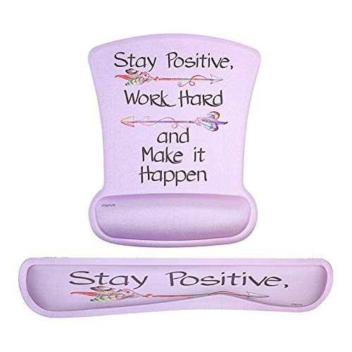 MOSISO Mouse Pad&Keyboard Wrist Rest Support Set, Ergonomic Mousepad Non-Slip Rubber Base Home/Office Pain Relief&Easy Typing Cushion with Neoprene Cloth&Raised Memory Foam, Pink Base Inspiring Words