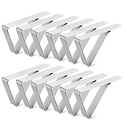 12Pack Tablecloth Clips, Picnic Table Clip, Outdoor Indoor Table Cover Clamps, Stainless Steel Table Cloth Holders for Party, Camping, Wedding from Haolin
