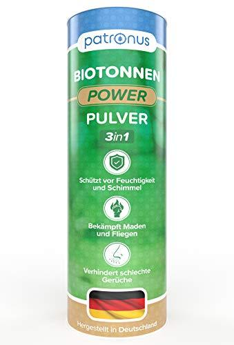 Patronus Biotonnen-Pulver gegen Maden, Ungeziefer und üble Gerüche 500g - effektives Biomüll-Pulver verhindert Schimmel und Feuchtigkeit - biologisch abbaubar für kompostierbare Abfälle