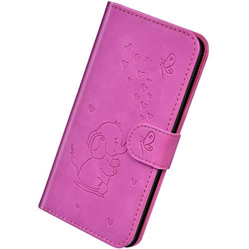 Herbests Kompatibel mit Samsung Galaxy A40 Hülle Leder Schutzhülle Handyhülle Flip Wallet Case Cover Liebe Schmetterling Elefant Leder Tasche Klapphülle Kartenfach Magnetisch,Lila Rose