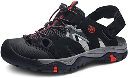 ATIKA Sandalias de senderismo para hombre con sistema de dedos cerrados, ligeras sandalias deportivas adecuadas para caminar, trailing, senderismo, zapatos de agua en verano, color Negro, talla 46 EU