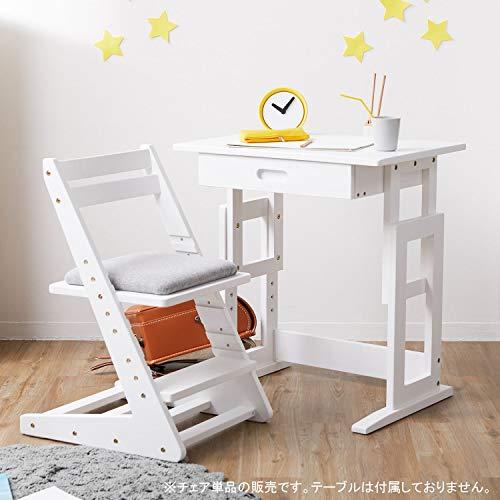 LOWYA子ども椅子学習チェアデスクチェア5段階昇降天然木キッズ家具ナチュラル/グレー