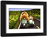 Framed 14x11 Print of Guinea Pigs Riding a Motor Scooter and Side Car (19988407)