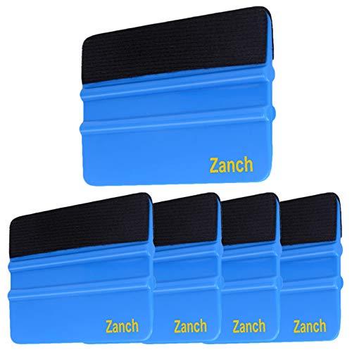 Zanch Blue Felt Squeegee Tool Window Tint Vinyl Squeegee Car Film Wrap Scrape Graphic Decal Wrapping Wallpaper Installing Craft Scrape with Black Fabric Felt Edge 5Pcs …