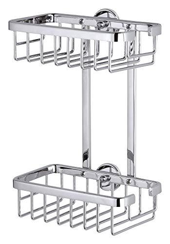 tesa ALUXX Duschregal ohne Bohren, Aluminium, verchromt, rostfrei, zweistöckig, inkl. Klebelösung, 260mm x 180mm x 107mm