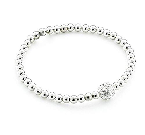 Fashion Stretchy Bracelets with Silver Beads and Disco Ball