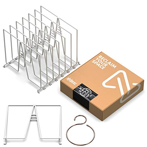 Neatly Made White Wire Shelf Dividers for Closet Organization 8-Pack – Sturdy and Easy Set-Up Closet Shelf Dividers for Wire Shelves 12 x 12 in. with Bonus Rose Gold Hanger