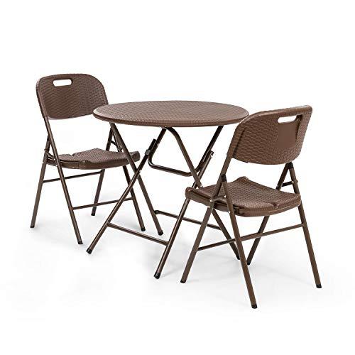 blumfeldt Burgos Mesa y sillas - Lote de Mesa de jardín y 2 sillas de jardín, Mesa de 80 cm para 4 Personas, Estructura de Acero y HDPE, Aspecto de Mimbre, Resistente en Exteriores, Plegable