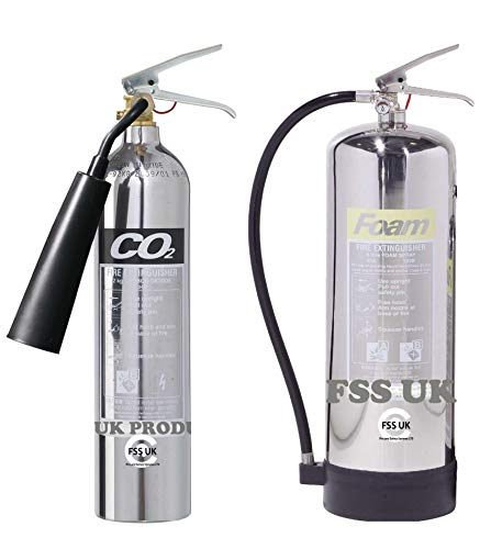 Designer Chrom-Feuerlöscher, Set, 6l Schaum + 2kg CO2-Feuerlöscher, CE-zertifiziert, ideal für Küche, Arbeitsplatz, Werkstatt, Lager, Garage, Hotels, Restaurants