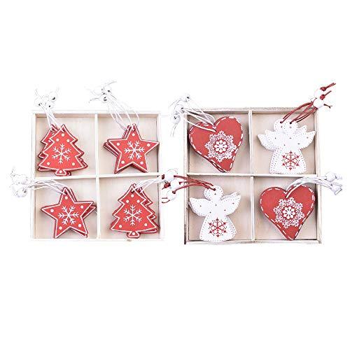 Yemiany Addobbi natalizi in legno,Ornamenti natalizi in legno,24PCS Ciondolo appeso in legno albero di Natale con spago per la decorazione di Natale San Valentino,etichette regalo fai da te(4 stili)