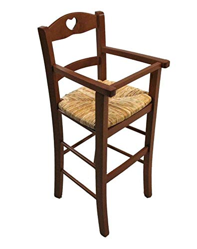 Chaise haute pour enfant en bois massif et assise en paille avec protection (noyer)