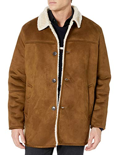 Tommy Hilfiger Men's Classic Faux Shearling Walking Coat, Brown, Large