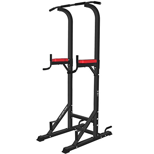ISE 5in1 Power Tower Workout Dip Station, Multifunzione Sbarra Trazioni per Dips, Chin Up, Ideale...