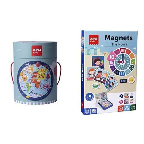 APLI Kids- Kit PUZLE Circular Mapamundi 48 Piezas (18201)+ Juego MAGNÉTICO  Aprendo Las Horas (18573)