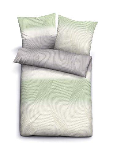 biberna 0003318 Bettwäsche Garnitur mit Kopfkissenbezug Komfort-Biber 1x 200x200 cm + 2X 80x80 cm pistaziengrün