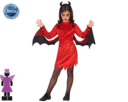 Atosa-55611-Disfraz Demonia para niña Infantil-Talla, Color rojo 5 a 6 Años (55611