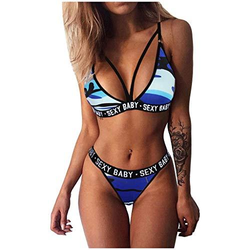 Conjunto de bikini sexy para mujer con letra impresa triángulo tanga 2 piezas trajes de baño