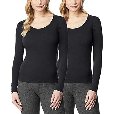 32 DEGREES Ladies' Heat Long Sleeve Scoop Neck Tee 2-Pack, Black/Black, Medium