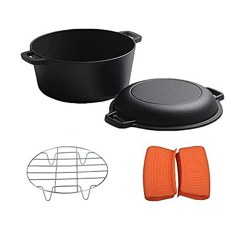 Horno holandés de hierro fundido, mini horno holandés, cazuela de hierro fundido con tapa para cocina, camping, jardín, barbacoa, hornear, doble función tapa