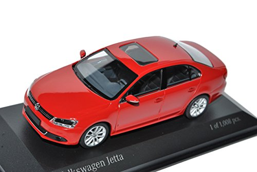 Minichamps Volkwagen Jetta VI Limousine Rot Ab 2010 1/43 Modell Auto mit individiuellem Wunschkennzeichen