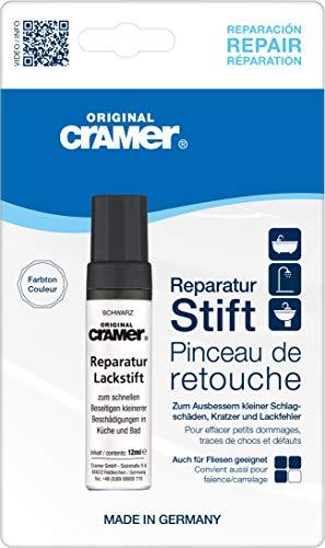 Cramer 15890DE Reparatur-Lackstift Email, Acryl, Keramik, schwarz - Sanitärlack zum Ausbessern kleinerer Schäden an Badewannen, Duschwannen, Waschbecken und Fliesen