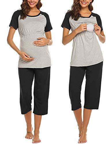 Ekouaer Womens Delivery/Labor/Maternity/Nursing PJS Pregnancy Sleepwear Capri Set for Hospital Breastfeeding (Black L)