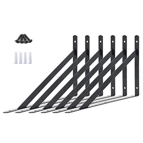 AddGrace Halterungen für Regale, 6 Stück, Wandbefestigung, Schrauben, inkl. Schwerlast-Dreieck-Regalstützen, dekorative Regalhalterungen, schwarz, 25,4 cm