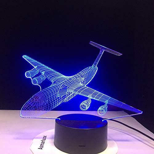 Lampada da tavolo 3D per aereo Giocattolo per bambini Regalo Lampada da notte LED Aereo per cambio aria USB Illuminazione per il sonno del bambino Camera da letto Comodino Decorazione Natale Bambi