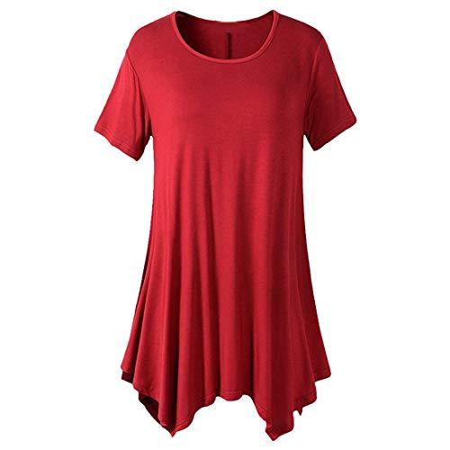 Mujeres Nuevo Dobladillo asimétrico Liso con Escote Redondo Escote Redondo para Mujer Camiseta con Ajuste elástico de Manga Corta Top Mujer Casual con Cuello Redondo Túnica Plisada Tops Camisas Blusa