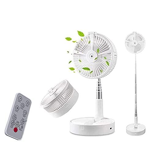 HMYLI Ventilador de Plegado de batería Recargable, Escritorio y Ventilador de Mesa, Ventilador de oscilación Portátil Plegable Telescópico Ventilador USB con Control Remoto y Luces