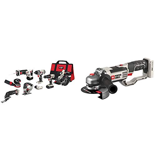 PORTER-CABLE 20V MAX Cordless Drill Combo Kit, 8-Tool (PCCK6118) & 20V MAX Angle Grinder Tool, 4-1/2-Inch, Tool Only (PCC761B)