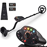 Metal Detector,Adjustable High Accuracy Beach Waterproof Detectors (41'-53') with DISC Mode, Pinpoint Function,4 Colors LED Light,Volume Controller for Adults and Kids,Fast Detection- Upgraded MMD05