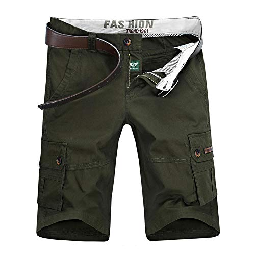 lxylllzs Cargo Bermudas Pantacourt,Short Multi-Poches pour Homme, Pantalon décontracté à Cinq Points-Vert armée_44, Travail Multi-Poches Pantacourt Coton,