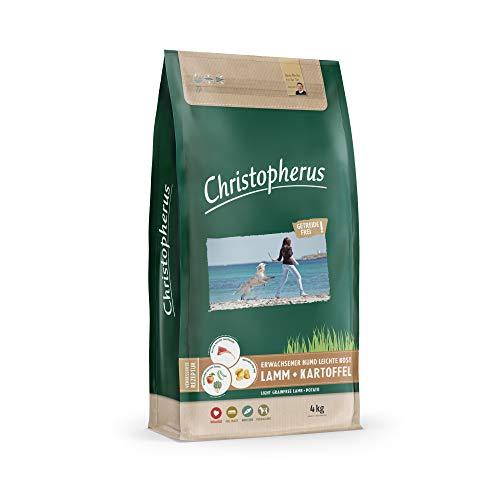 Christopherus Light Grainfree, Vollnahrung für ausgewachsene Hunde mit Übergewicht oder geringer Aktivität, Trockenfutter,  Lamm + Kartoffel, Krokettengröße ca. 1 cm, Ausgewachsener Hund, 4 kg