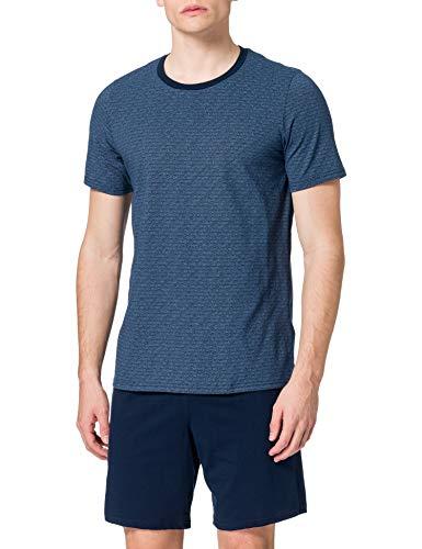 Schiesser Herren Comfort Fit Schlafanzug Kurz Pyjamaset, Blau, XL/54 EU