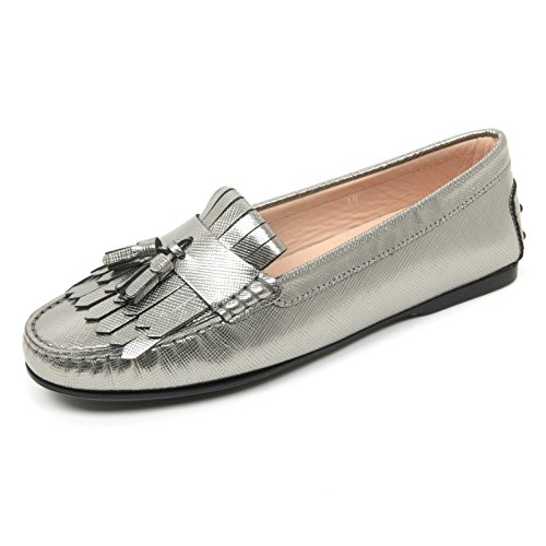 Tod's B9626 Mocassino Donna Scarpa Frangia Nappine Grigio Loafer Shoe Woman [35]