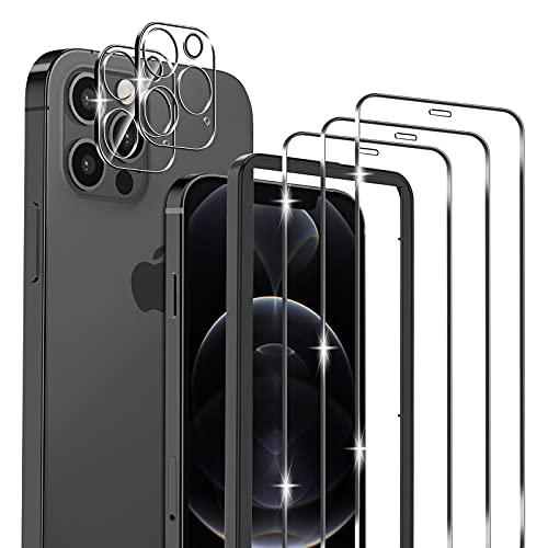 omitium 5 Pack Protector Pantalla Compatible con iPhone 12 Pro Max, 3 Pack Cristal Templado y 2 Pack Protector de Lente de Cámara, Marco de Alineación Incluido Sin Burbujas 9H Dureza Vidrio Templado