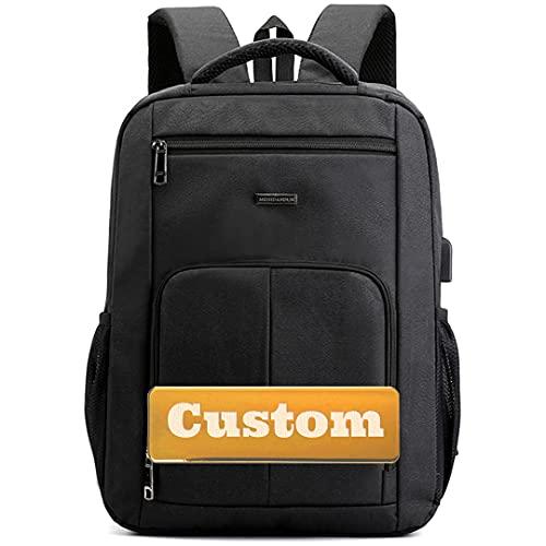 INGKDDL Nome Personalizzato Personalizzato Pollice 15.6 Borsa per Laptop per Donna Viaggio USB Backpack Scomparto (Color : Black, Size : One Size)