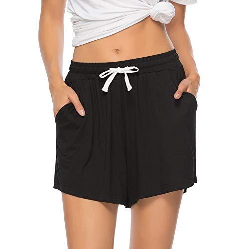 Vlazom Damen Schlafanzughose Baumwolle Pyjamahose Nachtwäsche Kurz Freizeit Hose mit Taschen und Kordelzug