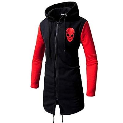 WUAI Mens Winter Jackets Casual Fashion Skull Print Fashion Zipper Lightweight Hooded Outwear Coat